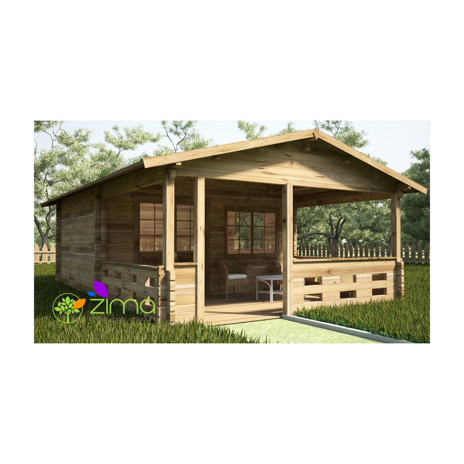 chalet en bois massif en kit lyon 5m x 4m 3m. Black Bedroom Furniture Sets. Home Design Ideas
