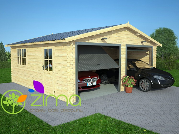 Garage bois massif double 36m2 44mmm for Garage en bois en solde