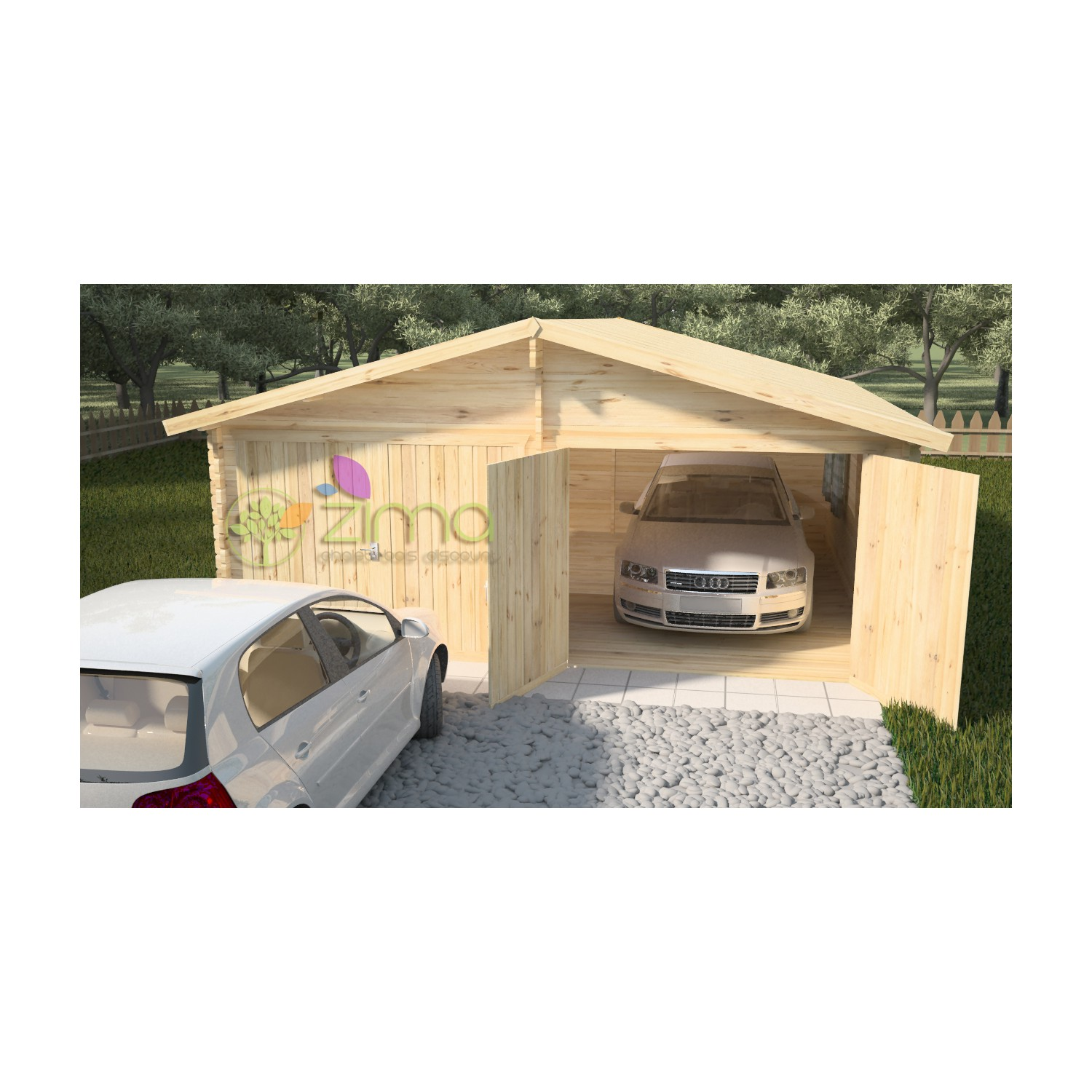 Double garage bois for Garage en bois en solde