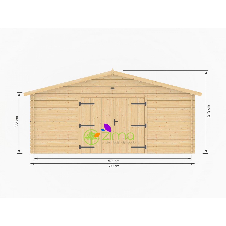 Garage Double En Bois Pour 2 Voitures Espace Rangement 50  ~ Garage Bois Double