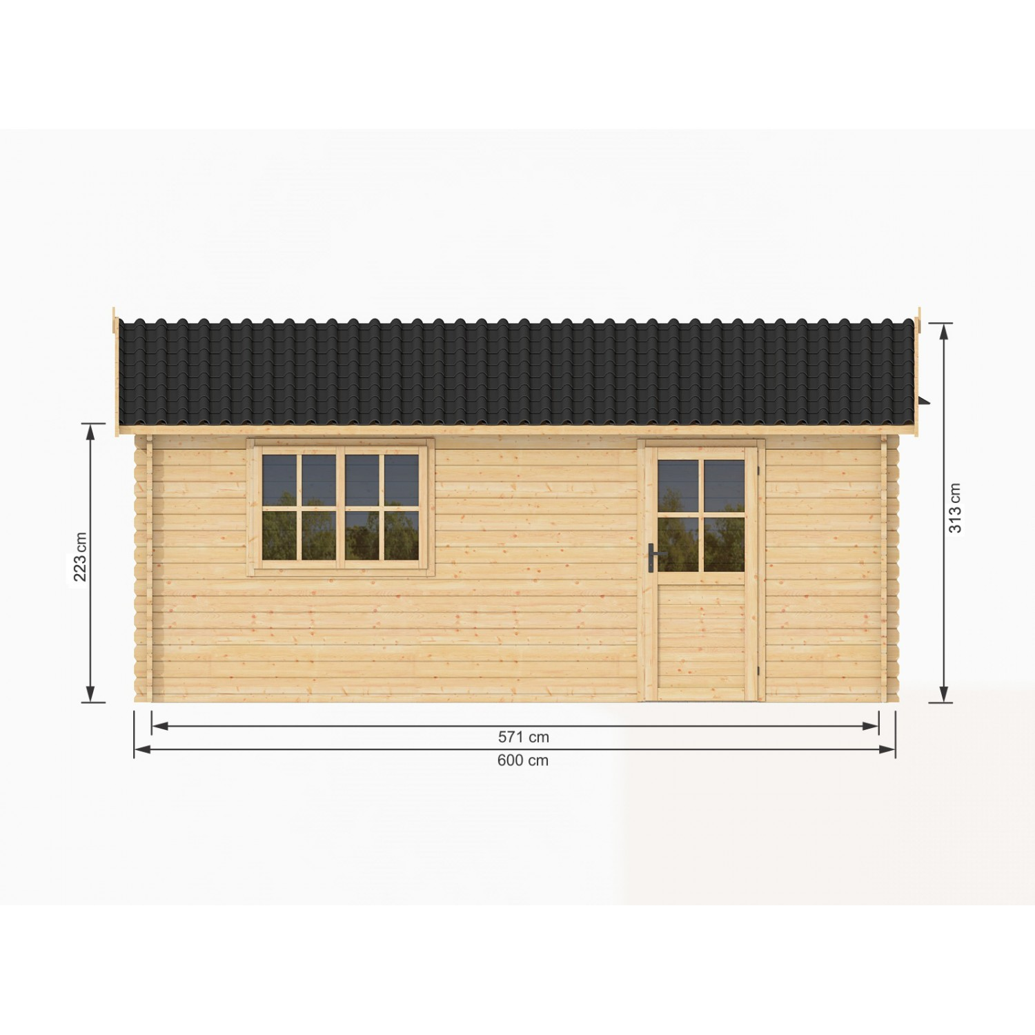 garage en bois massif 36m2 600x600 44mm. Black Bedroom Furniture Sets. Home Design Ideas