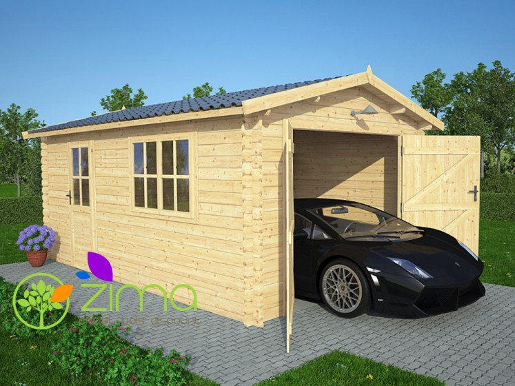 Garage en bois massif 20m2 for Garage en bois 20m2
