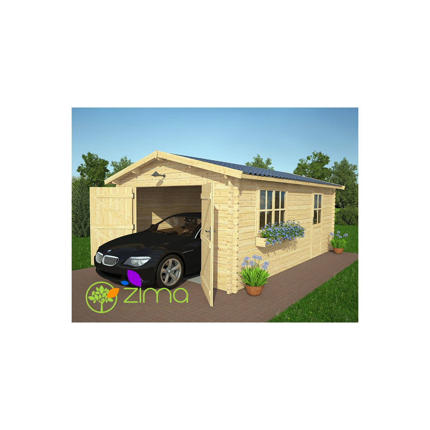 Garage Garage Double Bois 36 97m 2 Portes Incluses  ~ Garage Bois Double
