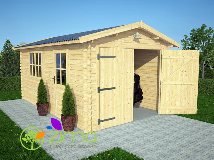 garage de 16m2 en bois massif madriers 28mm 300x500. Black Bedroom Furniture Sets. Home Design Ideas