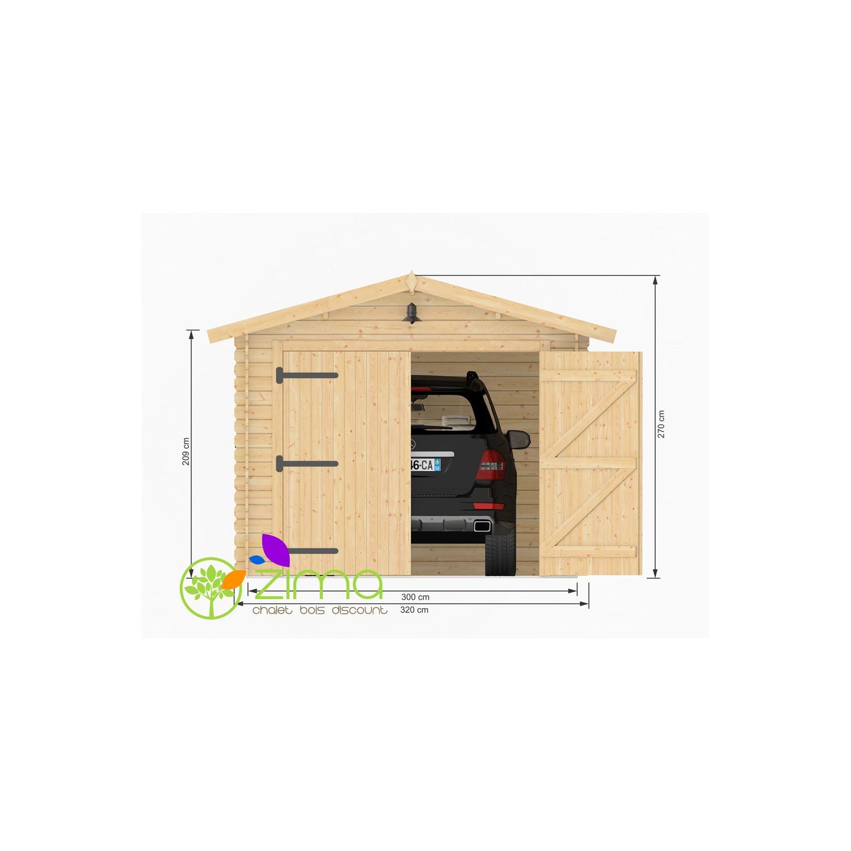 Garage de 16m2 en bois massif madriers 28mm 300x500 for Location de box garage