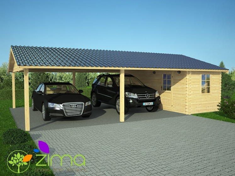 carport double abri de jardin 45m. Black Bedroom Furniture Sets. Home Design Ideas
